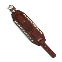 Brown Wide Leather Watch Bands: Pyramid Studs