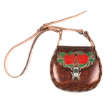 Brown USA Leather Shoulder Bags: Roses