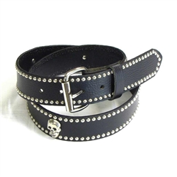 Chrome Skull Studded Genuine Leather Belt: USA Cowhide