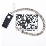 Tri Fold Skull Leather Chain Wallet