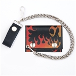 Biker Leather Chain Wallet with Orange Flames