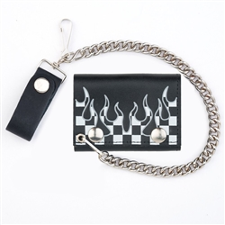 Biker Leather Chain Wallet - Flames