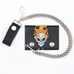 Skull and Flames Leather Chain Wallet for Bikers