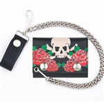 Roses Skull Leather Chain Wallet: Tri Fold, USA Cowhide