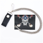 Rebel Skull Leather Chain Wallet: Tri Fold