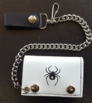 White Black Spider Leather Chain Wallet