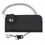 Black Leather Chain Wallets: USA Made