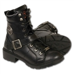 Milwaukee Leather Motorcycle Boots: Ladies Lace-up Black 9325