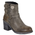 Milwaukee Gray Motorcycle Boots: Ladies Heel