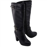 Milwaukee Ladies Studded Tall Biker Boots w/ Heel