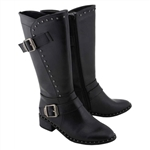 Milwaukee Motorcycle Boots: Ladies Tall Studded Black
