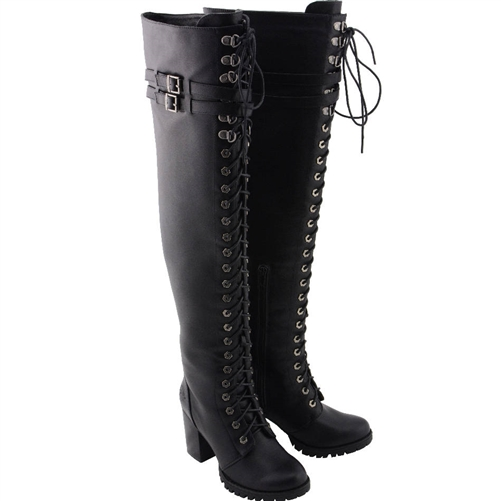 The Knee Lace-Up Biker Boots