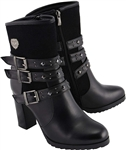 Milwaukee Leather Biker Boots: Ladies Studded