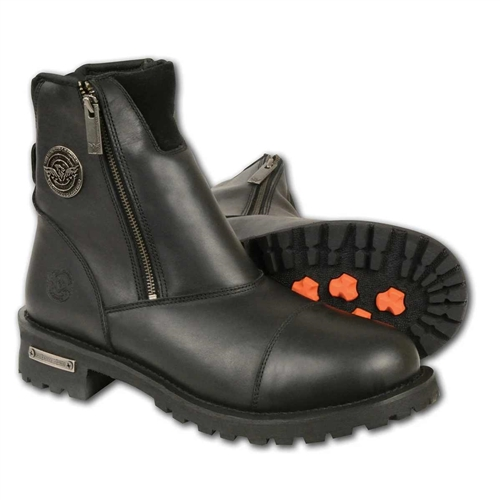 11.5 Milwaukee Leather MBM9000 Mens Lace-Up Black Leather Boots with Side Zipper Entry
