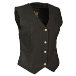 Women's Black Denim Motorcycle Vest, Milwaukee