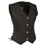 Women's Black Denim Motorcycle Vest: Milwaukee