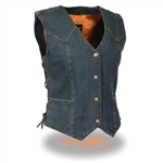 Ladies Blue Denim Motorcycle Vest: Milwaukee