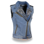 Studded Women's Denim Motorcycle Vests