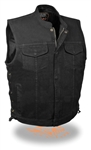 Black Denim Motorcycle Vests: Zip & Laces