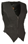 Women's Black Denim Motorcycle Vests: Milwaukee