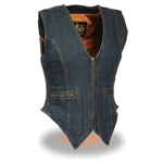 Ladies Blue Denim Biker Vest: Milwaukee