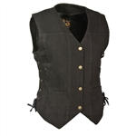 Women's Black Denim Motorcycle Vests: Gun Pocket