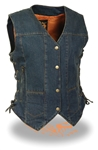 Women's Denim Motorcycle Vests: Gun Pocket