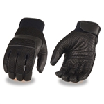 Leather & Mesh Motorcycle Gloves: Touch-Screen Finger