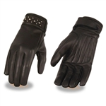 Ladies Leather Motorcycle Gloves: Studded