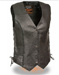 Cowhide Women's Leather Motorcycle Vest