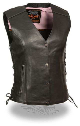 Womens Leather Motorcycle Vest Pink Embroidered Wings