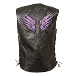 Womens Leather Motorcycle Vest Purple Embroidered
