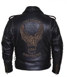 Live to Ride Embossed Men's Leather Motorcycle Jacket