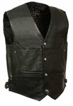Naked Cowhide Leather Motorcycle Vest: Side Buckles
