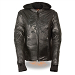 Women's Leather Motorcycle Jacket With Tribal Embroidery