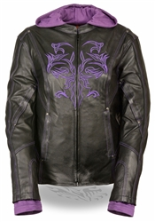 Women's Purple Tribal Leather Motorcycle Jacket by Milwaukee