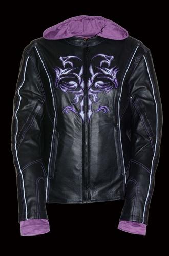 Black//Purple, Small Milwaukee Leather Womens Embossed Phoenix Jacket