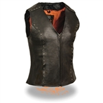 Womens Leather Motorcycle Vests - Studded