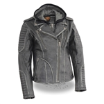 Ladies Biker Leather Motorcycle Jacket -  Removable Hoodie