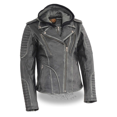 running shoes superior materials superior quality Women's Rub-Off Leather Motorcycle Jacket