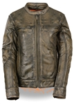 Women's Distressed Brown Leather Motorcycle Jacket