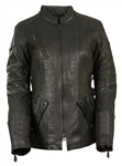 Women's Gator Print Leather Motorcycle Jacket