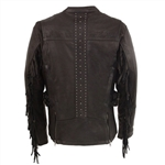 Fringe Trim Leather Riding Jacket