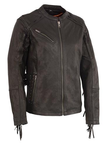 Ladies Fringe Leather Motorcycle Jacket Studded