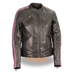 Ladies Lightweight Leather Racer Jacket, Purple Design