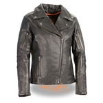 Ladies Leather Motorcycle Jacket - Longer Length