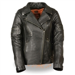Ladies Biker Leather Motorcycle Jacket - Gun Pocket