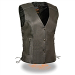 Reflective Womens Leather Motorcycle Vest