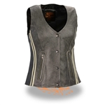 Womens Vintage Gray Leather Motorcycle Vests