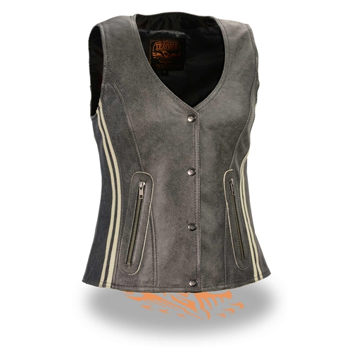Women/'s  Extra Long Motorcycle Biker Leather Vest W//Concealed Carry
